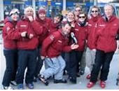 Snowboarding instructor team group photo